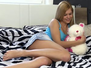 Delphine masturbating in her bedroom