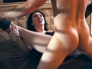 Brunette skank Aria Alexander gets naughty after classes.