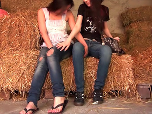 Lesbian Fun In The Hay