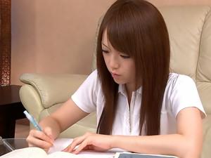 Japanese Cutie Strokes Her Kitty