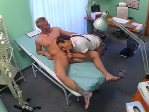 Sexy nurse gets a mouthful of cum in the doctors office