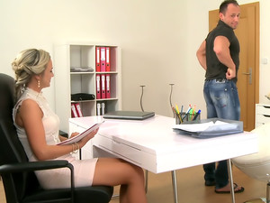 Sexy new blonde agent empties studs balls during first casting